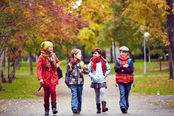 group of children walking